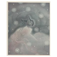 1929 French Art Deco Print-Woman Kissed by a Butterfly
