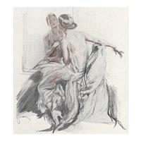 Matted 1923 French Art Deco Print-Beautiful Woman