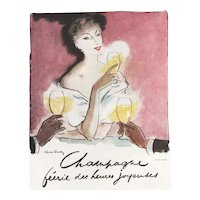 Mid Century French Print Alcohol Champagne