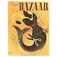 Matted Art Deco Mermaid Fashion Design Print