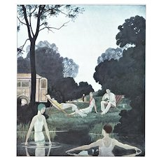 Matted Art Deco Print-Swimmers at the Lake