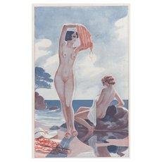 Art Deco print of nudes at beach
