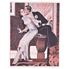 Art Deco Print of Valentine Lovers