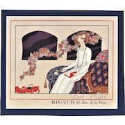 RARE Art Deco Fashion Lithograph by Barbier