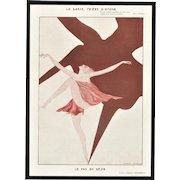 Art Deco Lithograph of Dancer