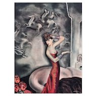 Art Deco Lithograph Print of elegant woman