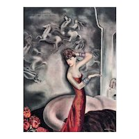Matted Vintage Art Deco Beautiful Woman