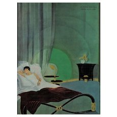 Art Deco Lithograph-Woman Lounging in Bed - Red Tag Sale Item