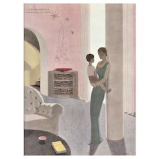 Matted Art Deco French Print-Woman and Child