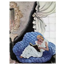 Art Deco Lithograph-woman reading by LaPape - Red Tag Sale Item