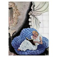 Matted Art Deco Vintage French Print-Woman Reading