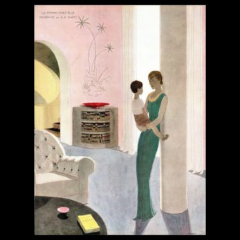 Matted Art Deco Vintage French Print-Woman and Child