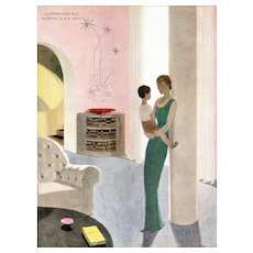 Matted Vintage Art Deco Print-Mother and Child