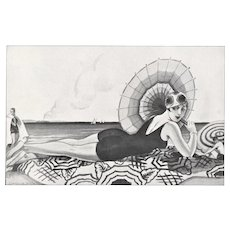 Art Deco Beach Beauty print