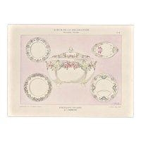 Set of 2 c1900 French Art Nouveau Design Lithographs for Porcelains