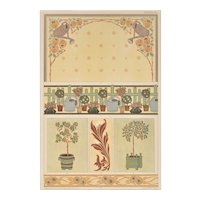 Matted Art Nouveau 1900 Chromolithograph-Garden Lover
