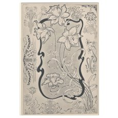 Matted Antique Art Nouveau French Lithograph -Fantasy Flowers