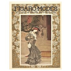 Matted 1903 French Art Nouveau Fashion Print