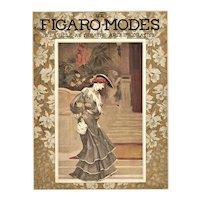 Matted 1903 French Art Nouveau Fashion Print