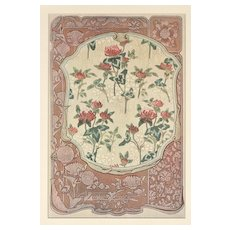 Matted 1900 French Art Nouveau Floral Design