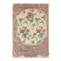 Matted 1900 French Art Nouveau Floral Design