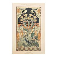 French Art Nouveau Floral Design Lithograph c1900