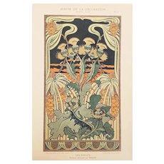 French Art Nouveau Floral Design Lithograph c1900