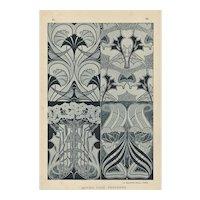 Pair-Art Nouveau Floral Design Lithographs c1900