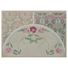 c1900 French Art Nouveau Botanical Design Lithograph-ROSES