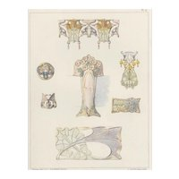 Original French Vintage 1900 Art Nouveau Jewelry Lithograph