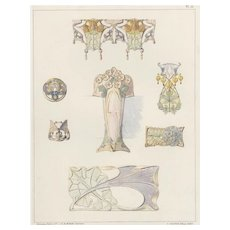 Original French Vintage 1900 Art Nouveau Jewelry Lithograph