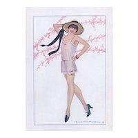 Vintage Print of Flirtatious Art Deco Lady