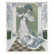 RARE Art Nouveau Vintage lithograph by De Feure