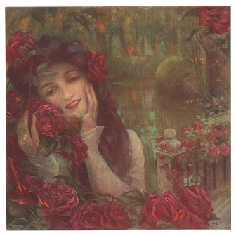 Vintage Art Nouveau Print of Woman with Roses