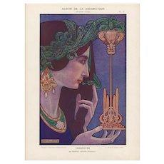 Art Nouveau woman with Serpent by M Lenoir