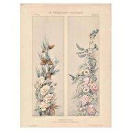 Roses 1900 Art Nouveau French Lithograph
