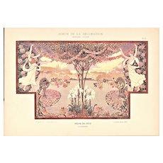 Art Nouveau Lithograph-Floral Landscape Celebration-Lilies