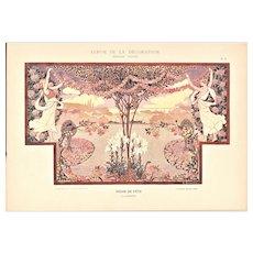 Art Nouveau Lithograph-Floral Celebration