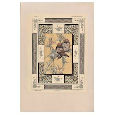 Art Nouveau Lithograph with bird,flowers
