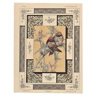Art Nouveau Lithograph with bird,flowers