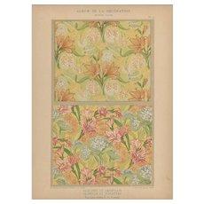 French Art Nouveau c1900 floral lithograph