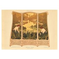 Art Nouveau pastoral landscape lithograph