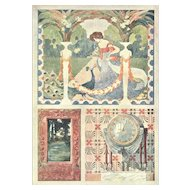 1900 Art Nouveau Design Chromolithograth