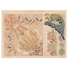 Art Nouveau 1900 chromolithograph design florals & peacock