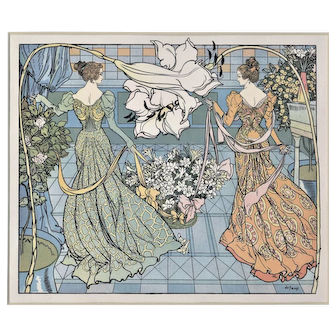 Art Nouveau 1900 Print 2 Beautiful Women