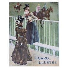 Matted Art Nouveau Print-At the Races
