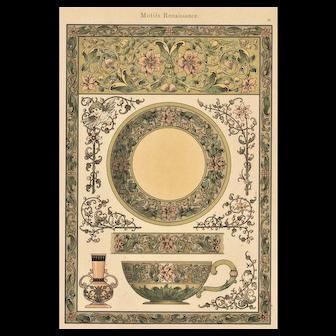 French Art Nouveau c 1900 Lithograph