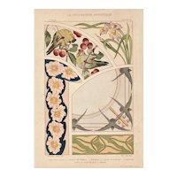 French Art Nouveau c 1900 Lithograph-Birds, Floral