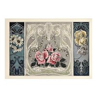 Matted Art Nouveau French Botanical Design Chromolithograph-ROSES