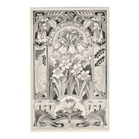 Matted Vintage French Art Nouveau Lithograph of Fantasy Flowers